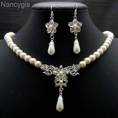 Cream Pearl Silver Crystal Necklace and Earrings Bridal Wedding Jewellery Set