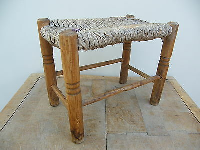 A Vintage Rustic Rush Reeded Country Foot Stool