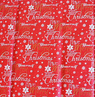 Christmas Wording & Plain Red Tissue Wrapping Gift Paper 10 sheets Xmas Present