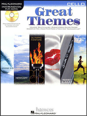 Great Themes Cello Instrumental Playalong Sheet Music Book & CD TV Movie Film