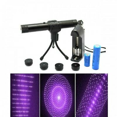 Adjustable 5 Patterns 405nm Purple Laser Pointer with battery & charger 1mw