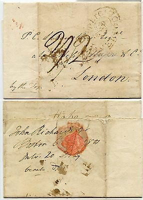 SHIP LETTER 1801 BOSTON to GB LIVERPOOL OVAL CROWN via THE FOX