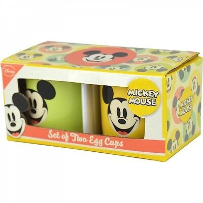 Walt Disney Mickey Mouse Set of 2 Egg Cups Ceramic Official Breakfast Bright