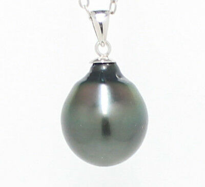12.9mm Tahitian Pearl Pendant 14k solid White Gold