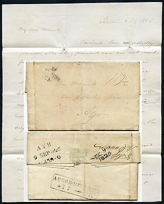 SCOTLAND 1825 ABERBROTHWICK BOXED MILEAGE...LETTER DUNCAN to McNAB AYR