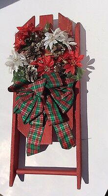 Vintage Christmas Wooden Sleigh With Vintage Flowers. Decorations