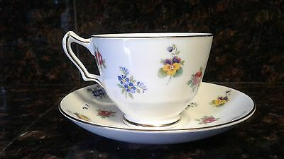Crown Staffordshire England Pansy Multi Floral Bone China Teacup Saucer