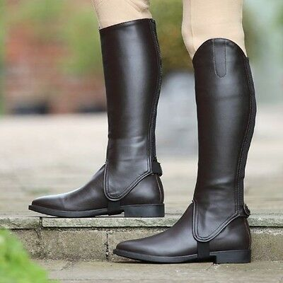 SHIRES ADULTS SYNTHETIC LEATHER GAITERS BLACK horse riding easy clean chaps 9619