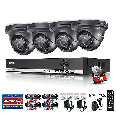 ANNKE 1800TVL 960P AHD Video Surveillance 8CH DVR Home Security Cameras Kit 1TB