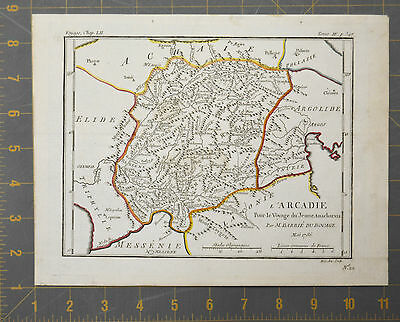 Arcadia Ancient Greece Antique Engraved Map 1786 10x8 Inches