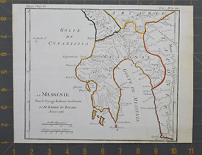 Messinia Ancient Greece Antique Engraved Map 1786 Large 8x10 Inches