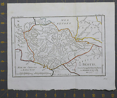 Viotia Ancient Greece Antique Engraved Map 1787 Large 9x11 Inches