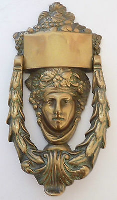 Antique Victorian Maidens Head Cast Brass Door Knocker Excellent condition