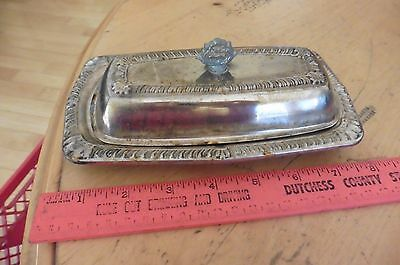 Vintage Butter tray dish Silver plate w/ lid Antique estate find