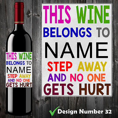 10 Personalised Funny Wine Bottle Label Birthday Christmas Gift, Unique Custom