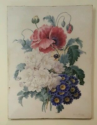 19th Century French Botanical Watercolour Signed Maure Redoute 1800s Flowers