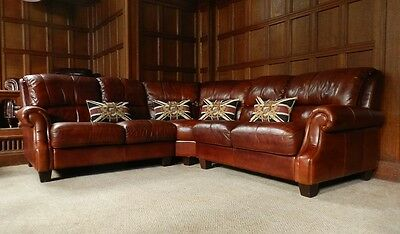 Victorian Style Hand Dyed Chestnut Brown Leather Chesterfield Club Corner Sofa