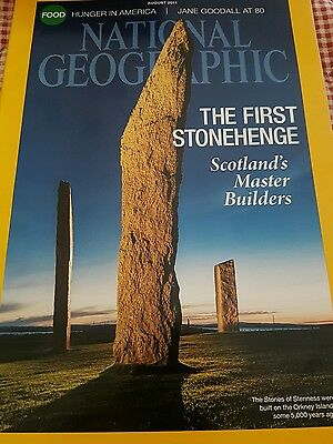 NATIONAL GEOGRAPHIC August 2014. The first Stonehenge. New!