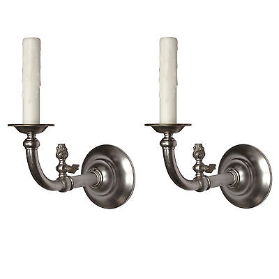 Antique Nickel Gas & Electric Sconce Pair, 19th Century, NSP1120