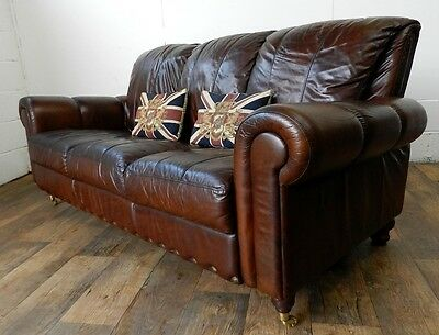 Victorian Style Hand Dyed Cigar Brown Leather Chesterfield 3 Seater Club Sofa