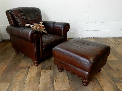 Victorian Style Hand Dyed Cigar Brown Leather Chesterfield Armchair & Footstool