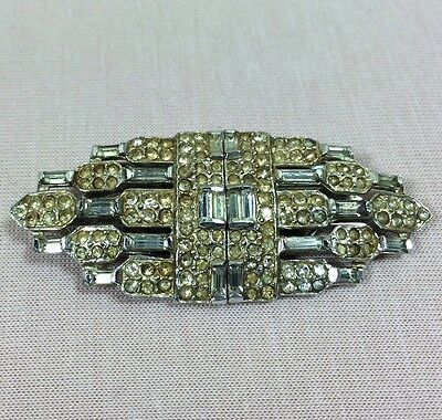 Art Deco Brosche Zwei Clips Strass Collier Hollywood Schmuck Glamour Style