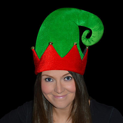 b3f0c9863fa Adult Christmas Velour Elf Hat With Bells Red Green Xmas Party Fancy Dress  Fun