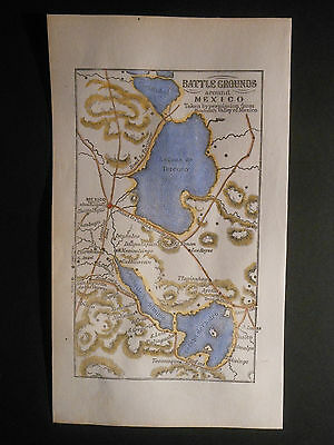 Battle Grounds Around Mexico City Mexican American War 1848 Map Hand Color Roads