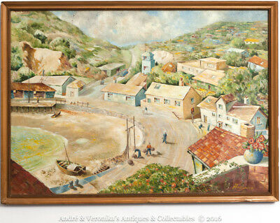 Town & Harbour View from Balcony, M MacDonald Oil on Canvas Vintage Painting Art