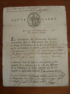 Sauve Garde An Viii Sign. General Theodore Colle Revolution Empire