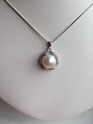 Sterling Silver 925 With Genuine Freshwater Pearl Pendant Necklace