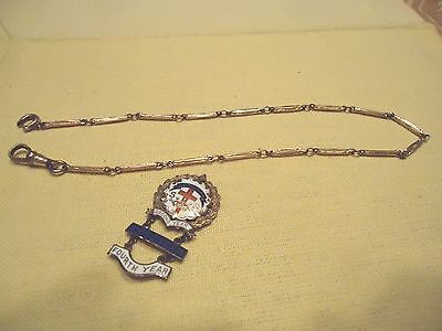 Vtg Little's Cross Crown System to Fourth Year Lutheran Pin 12K GF Watch Chain