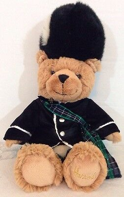 Harrods Piper Plush Stuffed Bear Tartan Kilt London Exclusive EUC