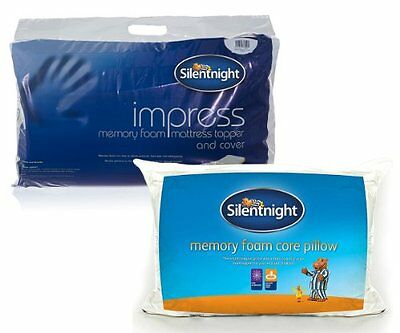 Silentnight Impress 2.5 cm Memory Foam Mattress Topper and a Pillow, Single