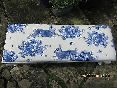 Rabbit and Cabbage Thornback and Peel upholstered footstool/children's seat