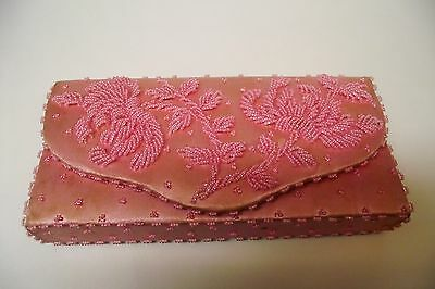 Vtg. 1950's Pink Satin Hand Beaded Clutch Purse Detachable Strap