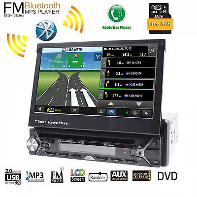 Single 1DIN GPS RDS Touch Screen Autoradio In Dash 7'' Car Stereo DVD Player HD