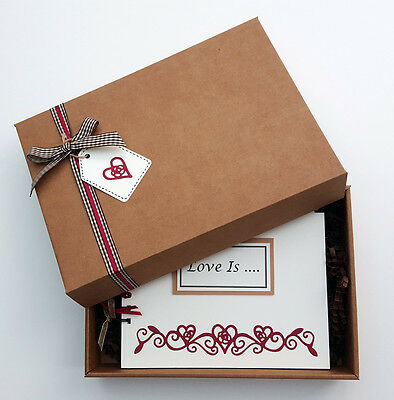 "Love Hearts 8""x6"" boxed scrapbook, valentine memory photo album, can personalise"