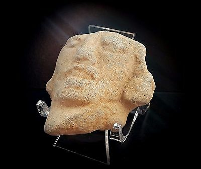 PRE-COLUMBIAN TERRACOTTA HEAD ON PERSPEX DISPLAY STAND 1st MILLENNIUM A.D.