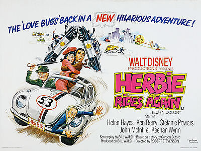 """Herbie Rides Again 1974 16"""" x 12"""" Reproduction Movie Poster Photograph"""