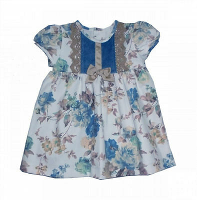 Baby Girls Spanish Ivory and Blue Floral Dress by Alber  - REDUCED ON SALE