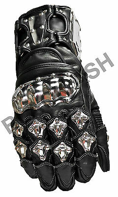 Black Ash B07 Motorcycle Gloves Cowhide Leather Steel Armor X Large