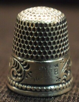 """Antique Sterling Silver Paisley Pattern Thimble Size 8 Engraved """" Hallie """""""