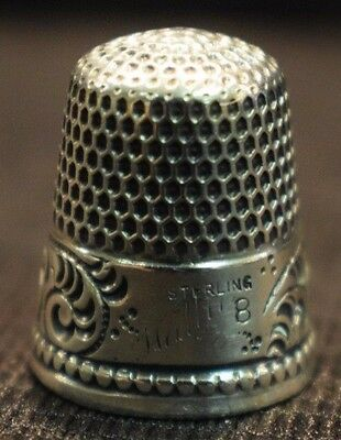 "Antique Sterling Silver Paisley Pattern Thimble Size 8 Engraved "" Hallie """