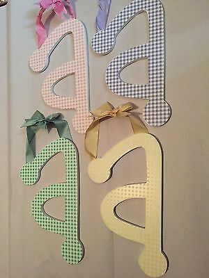 "Lower Case Letter MULTI COLORS Gingham Wood Letters ""a"""