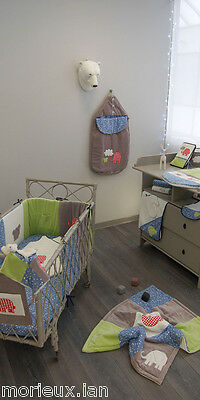lot Ensemble ABSORBA theme NUAGE BLEU tour lit gigoteuse plaid draps ...val 300