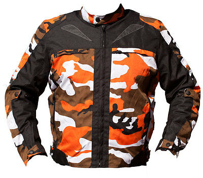 Black Ash Mens Camo Motorcycle Cordura Textile Armor Jacket Orange X Large