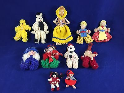 Lot of 11 Vintage Yarn Dolls Very Nice Condition