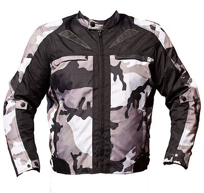 Black Ash Mens Camo Motorcycle Cordura Textile Armor Jacket Grey Small