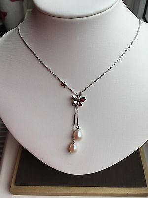 Sterling Silver 925 With Genuine Freshwater Pearl Butterfly Pendant Necklace